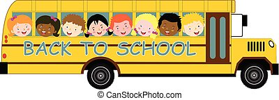 Back to School Bus and children
