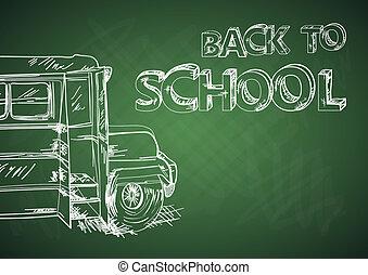 Back to school bus education chalkboard sketch EPS10 file.