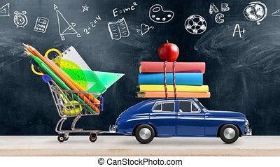 Back to school. Car delivering books and apple against school blackboard with education symbols. Seamlessly looped 4k animation.