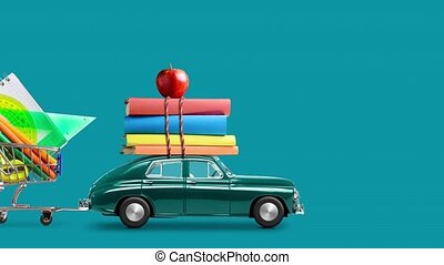 Back to school. Car delivering books, shopping cart with stationery and apple against green school blackboard with education symbols. Car is moving from left to right. Seamlessly looped 4k animation