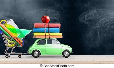 Back to school. Car delivering books, shopping cart with stationery and apple against school blackboard with education symbols. Car is moving from left to right. Seamlessly looped 4k animation