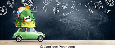 Back to school car. - Back to school sale background. Car...
