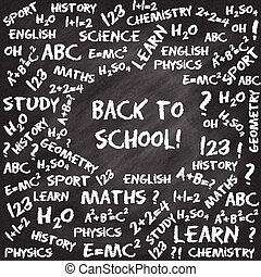 Back to school card. Hand drawn chalk text