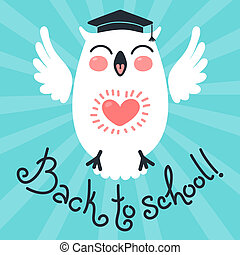 Back to school. Card with an owl.