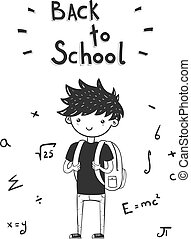 back to school card with boy