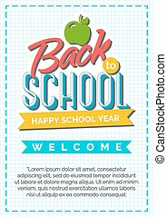 Back to school card with color label consisting of apple and sign happy school year