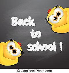 Back to school. Card with funny chickens.