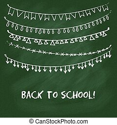 Back to school card with garlands