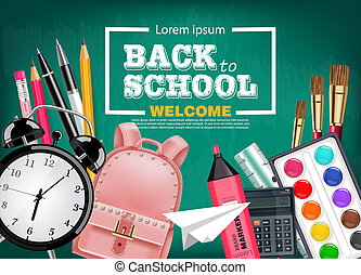 Back to school card with satchel, alarm clock, pencils and other tools Vector realistic. Chalk board background. Detailed 3d illustrations