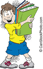 Back To School - Cartoon image of a boy holding a bunch of...