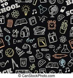 Back to school chalk doodles seamless pattern. Education ...