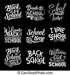 Back to school chalk lettering on blackboard