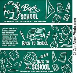 Back to school chalkboard banner with student item
