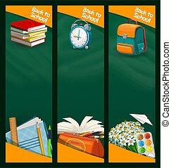 Back to school chalkboard banners, education
