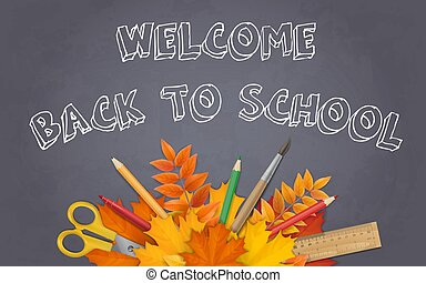 back to school chalkboard leaves supplies