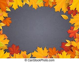 back to school chalkboard maple leaves