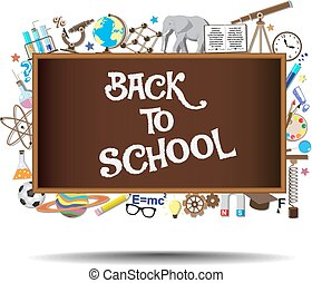 Back to School chalkboard with science symbols and design elements on background. Vector illustration