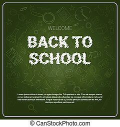 Back To School Chalked Doodle Background On Green Board With Copy Space
