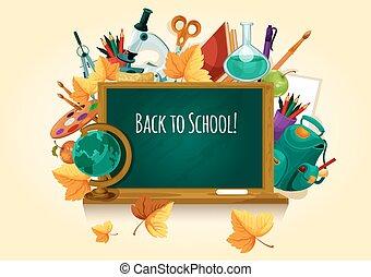 Back to school. Chalked text on blackboard