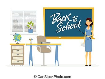 Back to school - character of a teacher with calligraphy lettering