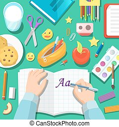 Back to School Children Table with Notepad and Drawing Stationery. Vector illustration