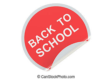 Back to School circle sticker, sale and discount concept. 3D rendering