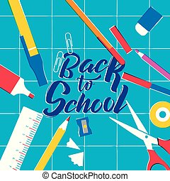 Back to School class supplies on study table