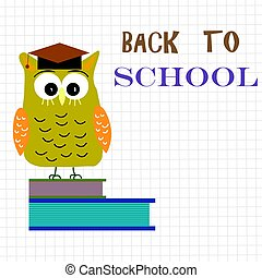Back to school clip art with lettering text. Wise cute owl on books. Cartoon design