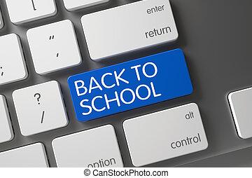Back To School Close Up of Keyboard. 3D Illustration.