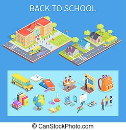 Back to School Collection of Illustrations on Blue