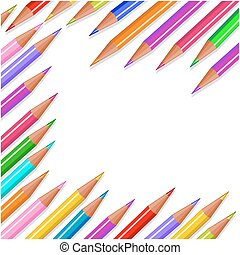 Back to school colored pencils background