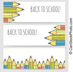 Back to school colorful banners set.