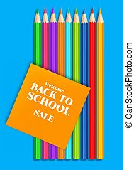 Back to school colorful crayons Vector realistic. Blue background. 3d detailed illustrations