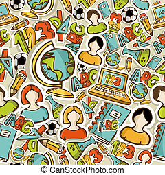 Back to School colorful icons education seamless pattern.
