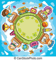 Back to school - Colorful round composition, with cute ...