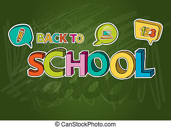 Back to school colorful text social bubble icon EPS10 file.