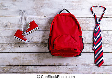 Back to school composition - Desk with school supplies....