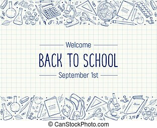 back to school composition - Hand drawn school objects in...
