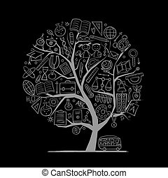 Back to School Concept. Art Tree for your design