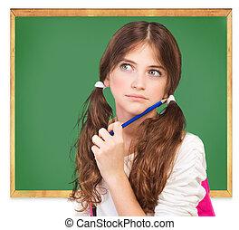 Back to school concept - Closeup portrait of cute girl...