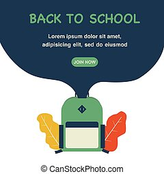 Back to school concept flat illustration with school bag