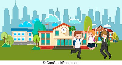 Back to school concept for banner, Children stand near school building and happy at beginning of the education year, students with backpacks and in uniform entered college vector illustration.