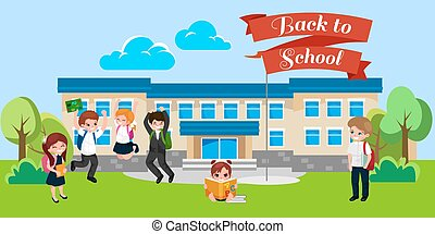 Back to school concept for banner, Children stand near school building and happy at beginning of the education year, students with backpacks and in uniform entered college vector illustration