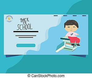 Landing page with little boy sitting on a pile of books.