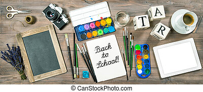 Back to school concept. Office supplies, tolls and accessories