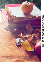 Back to school concept. Old vintage books and apple over autumn leaves in sunlight on wooden background.