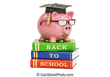 Back to school concept. Piggy bank on books, 3D rendering