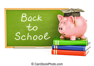 Back to school concept. Piggy bank with books and blackboard, 3D rendering