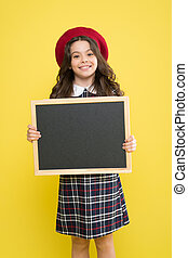 Back to school concept. School information. Informing you. Expect the unexpected. Child promo information board. Place for information. Girl hold blank blackboard. Advertising product copy space