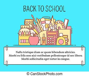 Back to school concept vector illustration in flat line style